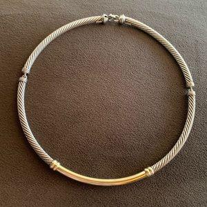 David Yurman 14k gold & 925 metro choker necklace